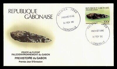 DR WHO 1990 GABON FDC PREHISTORIC TOOLS ARROWHEAD  C243296