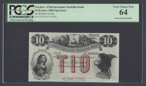 Sweden Enskilda Bank 10 Kronor 1884 Ps149s Litt D Specimen Uncirculated