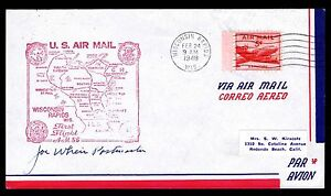 US-C33-1ST-AIR-MAIL-FLIGHT-WIS-MINN-POSTMASTER-SIGNED-1948-VF-ESP-102