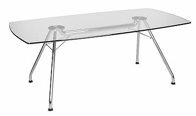 Conference Table With Tempered Glass Top Stainless Steel Frame 39 X 77