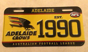 Adelaide CROWS, PLASTIC NOVELTY NUMBER PLATE, OFFICIAL AFL MERCHANDISE