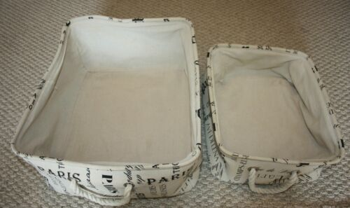 Lot of 2 Canvas Storage Boxes Totes with Rope Handles Paris Design