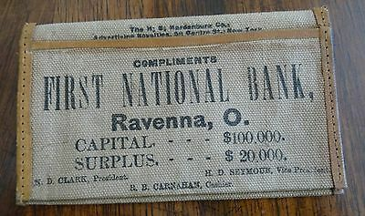 1925 First National Bank Ravenna Ohio Canvas Change Purse Advertising Specialty