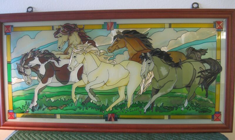 Beautiful stained glass panel of 5 running horses framed with hanging hooks