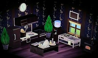 Animal Crossing New Horizons Kitchen Furniture Set +floor and wall
