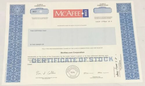 1999 MCAFEE.COM Odd Shares Class A Stock Certificate SPECIMEN