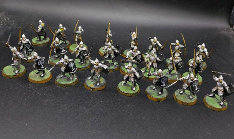 painted warhammer LoTr warriors of Minas Tirith/Gondor ×24  games workshop 28mm