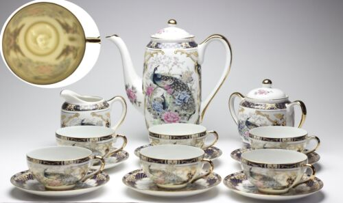 Porcelain Geisha Tea Set 15pc Child Size Small Cup Navy Blue Peacock and Flower