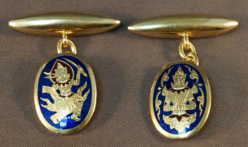Engraved Solid 18K Gold & Enamel Thai Dancing Warrior & Seated Buddha Cufflinks