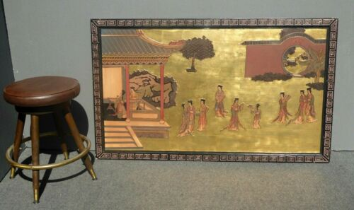 Vintage Chinoiserie Gold Gilt Japanese Picture Geisha