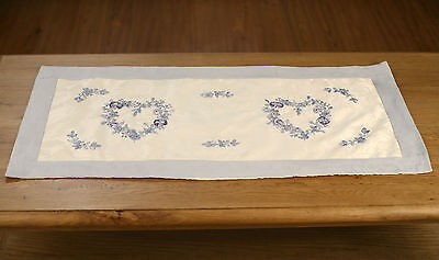 Damask Table Runner - Faux Suede with Ribbon Embroidery 90cms. BRAND NEW.