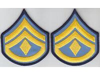 1 pair  SGT Sergeant Chevrons ROYAL BLUE//GOLD//BLACK 3.75 X 3 police//sheriff