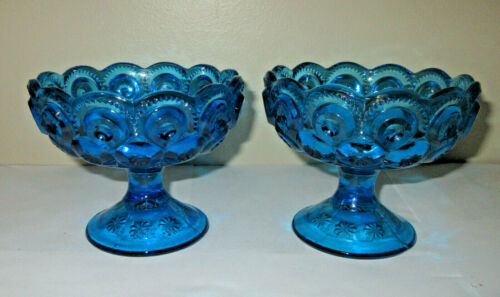 """L E Smith Moon & Stars 2 Compotes Pedestal Candy Dish Teal Blue 3 & 7/8"""" Tall"""