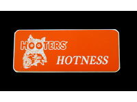 Hooters Uniform Jugs Name Tag Nametag Waitress Bartender Badge Pin Halloween