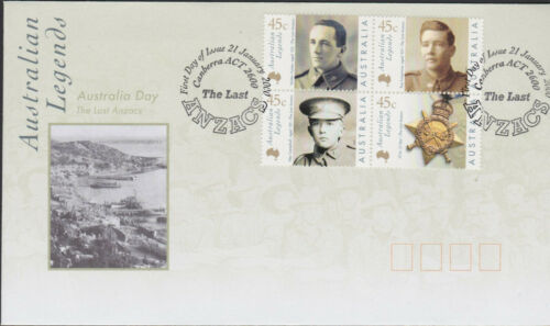 WWI Australia Military 2000 THE LAST ANZACs AIF Soldier Stamps on FDC Cover