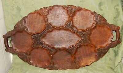 Vintage Oriental Lotus Leaf Water Lily Carved Wooden Tray