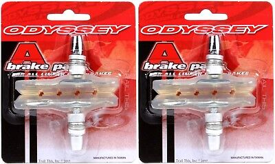 2-Pack Odyssey A-Brake Clear BMX Bicycle Brake Pads / Shoes Threaded Posts Soft 2 Bicycle Brake Shoes