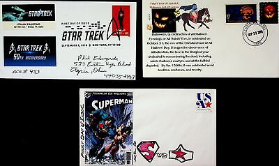 USA 2016 STAR TREK 50TH ANN/ HALLOWEEN/ SUPERMAN 3 ARTIST DESIGN ACE FDCs W/ 4v