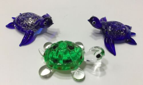 """Lot 3 SMALL GLASS TURTLE BLUE GREEN FIGURINES 2 3/8"""""""