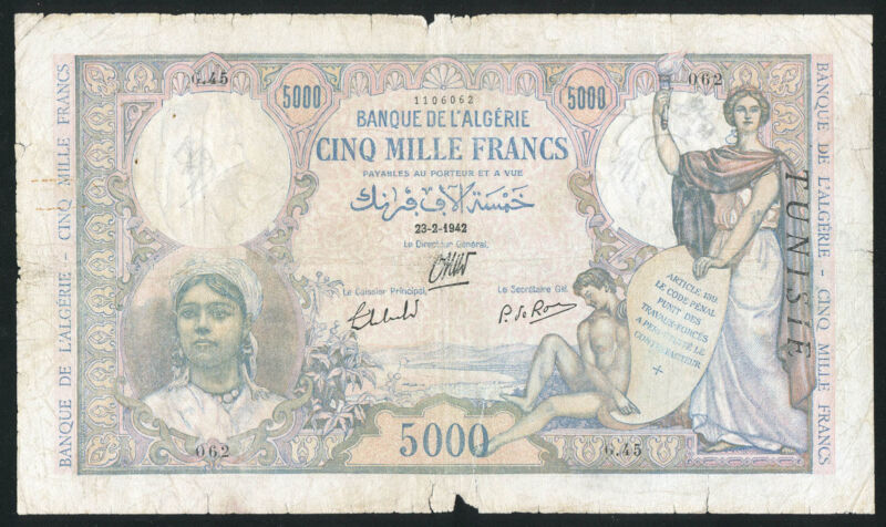 TUNISIA - 5000 Francs 23.02.1942 Banknote Note WITHOUT OVERPRINT AT BACK - RARE!