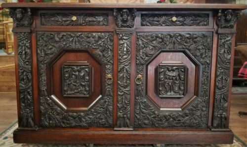 carved BUFFET, credenza,  sideboard, tiger oak, 19th C, Baroque, Renaissance,72w
