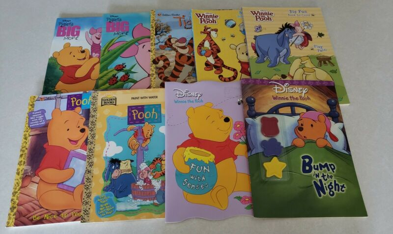 Rare Winnie the Pooh Coloring & Paint Books. Lot of 9. Movie Themed & More
