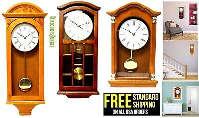 J&D Best Pendulum Wall Clock Silent retro vintage classic Wood Battery Operated