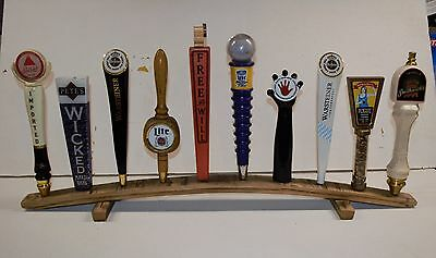Whiskey Beer (oak whiskey barrel stave 10 beer tap handle display stand handles not included )