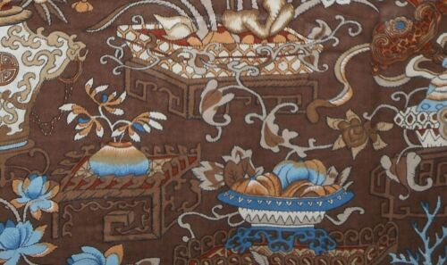 Vintage French Chinoisoire Floral Polished Cotton Fabric ~ Brown Blue
