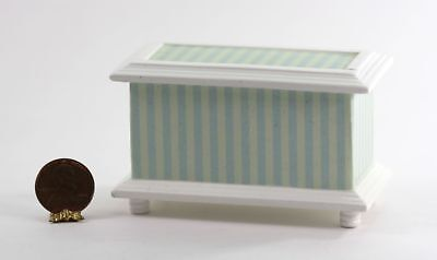 Dollhouse Furniture Green and Cream Stripe Decoupage Toy Chest or Box
