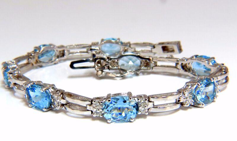 9.84ct natural aquamarine diamonds tennis bracelet 14kt vivid prime aqua blue