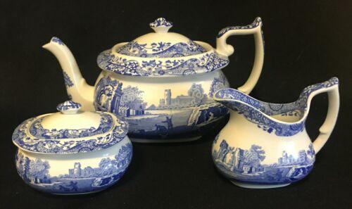 Spode Blue Italian Tea Set - Teapot Cream and Sugar