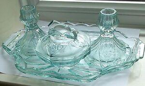 SOWERBY #2638 AQUA? GLASS VANITY DRESSING TABLE TRAY CANDLESTICKS TRINKET SET