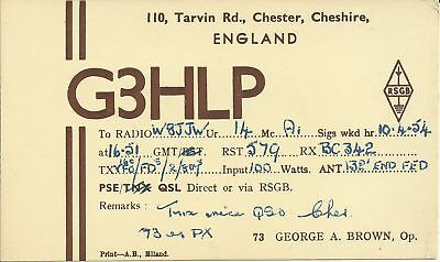OLD VINTAGE G3HLP CHESTER CHESHIRE ENGLAND AMATEUR RADIO QSL CARD