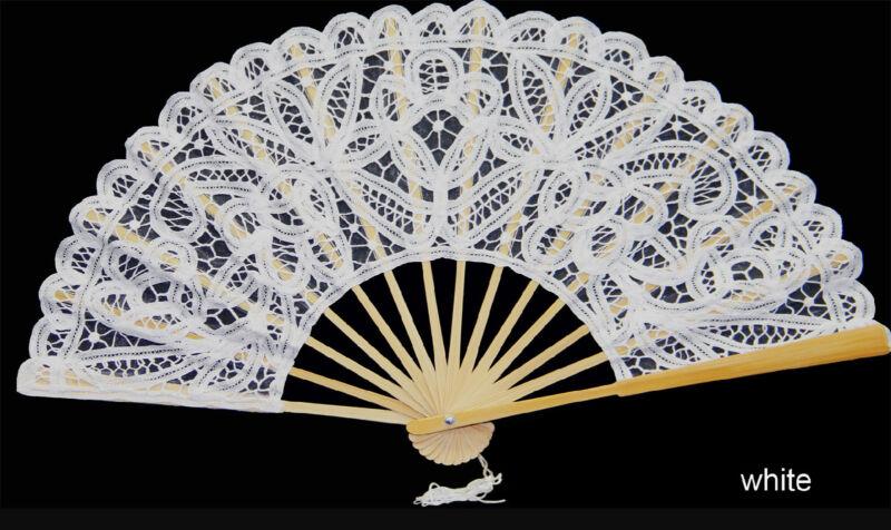 White Victorian Battenburg Lace Wedding Bridal FAN New Wedding Party Supply
