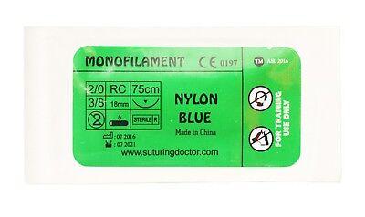 20 Nylon Blue Monofilament Suture 75cm Training Use 18mm Needle Nurse Vet New
