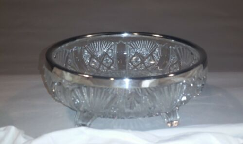 Vintage Pressed Glass Footed Bowl with Silver Rim