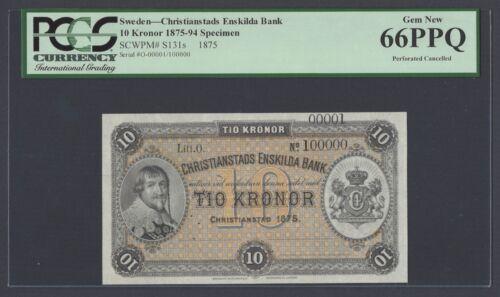Sweden Christianstads Enskilda Bank 10 kronor 1875 PS131s Litt O Specimen UNC