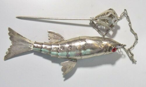 Antique Articulated Fish Sterling Silver (800?) Hat Lapel Shawl Hair Stick Pin