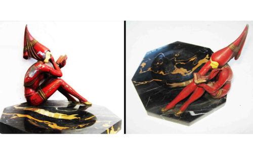 "Gerda Gerdago ""PIXIE"" Art Deco CAST METAL w/Celluloid Face Statue on MARBLE TRAY"