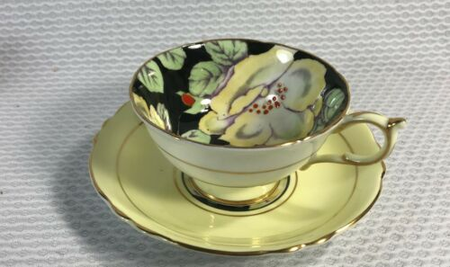 PARAGON BLACK PALE YELLOW HIBISCUS ?  GARDENIA ? FLOWERS FLOWER CUP SAUCER