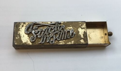 Vintage A Stitch in Time Sewing Needle Box Gold Tone