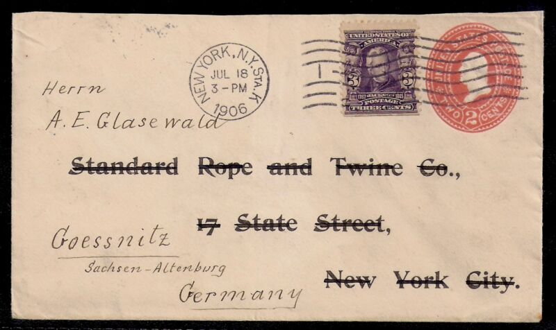1906 New York to Altenburg, Germany - Preprinted Stamped Envelope Crossed Out