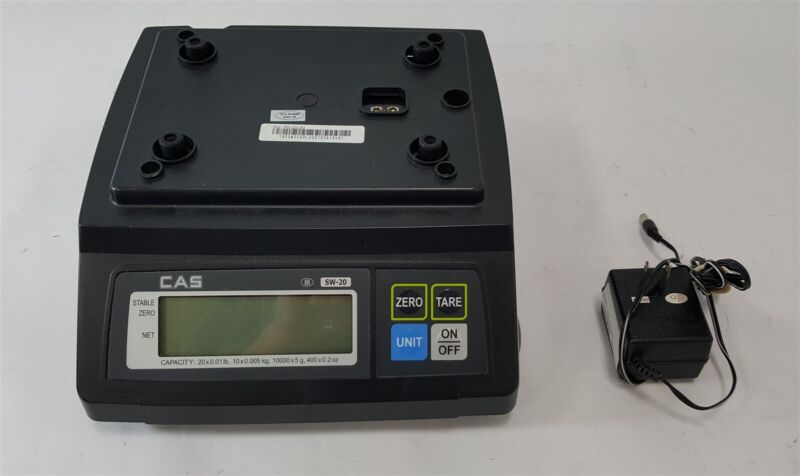 CAS SW-20 SW-RS 20LB Digital Scale POS Clover w/ AC Adapter No Top