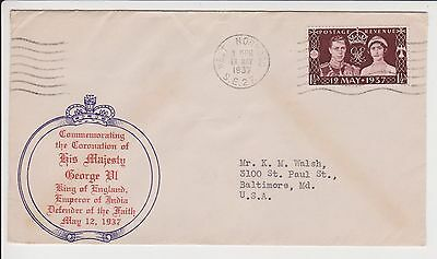 1937 KGVI CORONATION FDC KING GEORGE VI FIRST DAY COVER GB TO USA EXCELLENT
