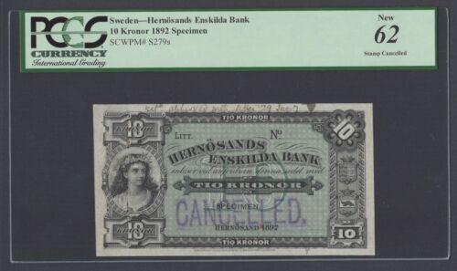 Sweden Hernosands Enskilda Bank, 10 kronor 1892 Ps279s Specimen Canceled UNC