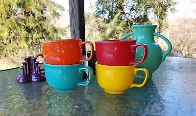 set lot 4 JUMBO soup chili Mug CUP poppy daffodil scarlet NEW FIESTA 18 0Z.