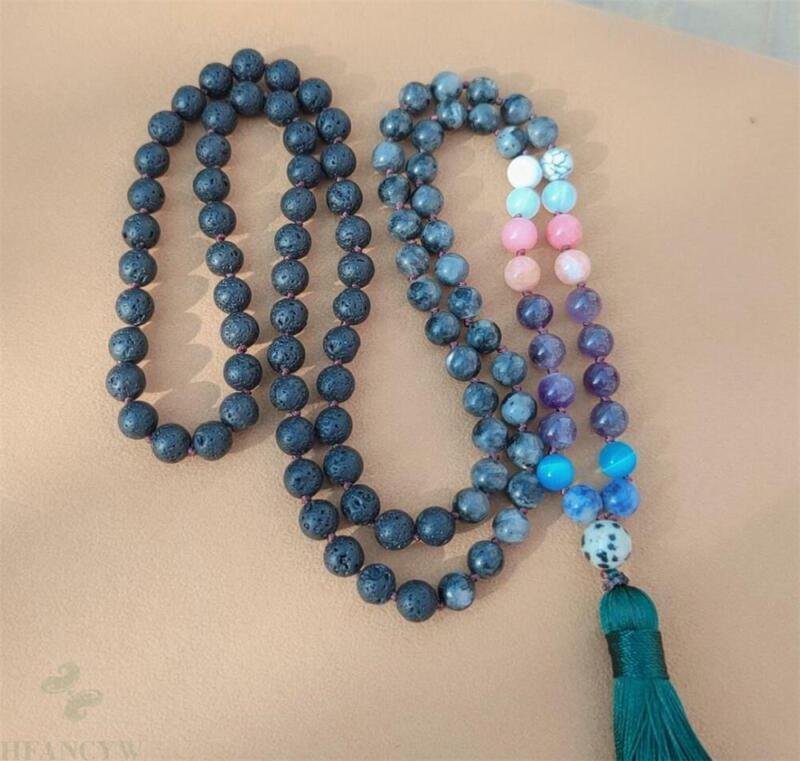 8mm Volcanic Stone 108 Beads Tassel Knotted Necklace Cuff Handmade Bracelet