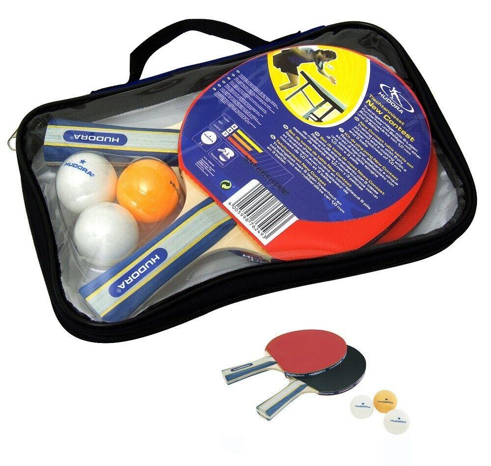 Hudora Tischtennisschläger - Set New Contest | 2 Schläger  | 3 Bälle | 1 Tasche