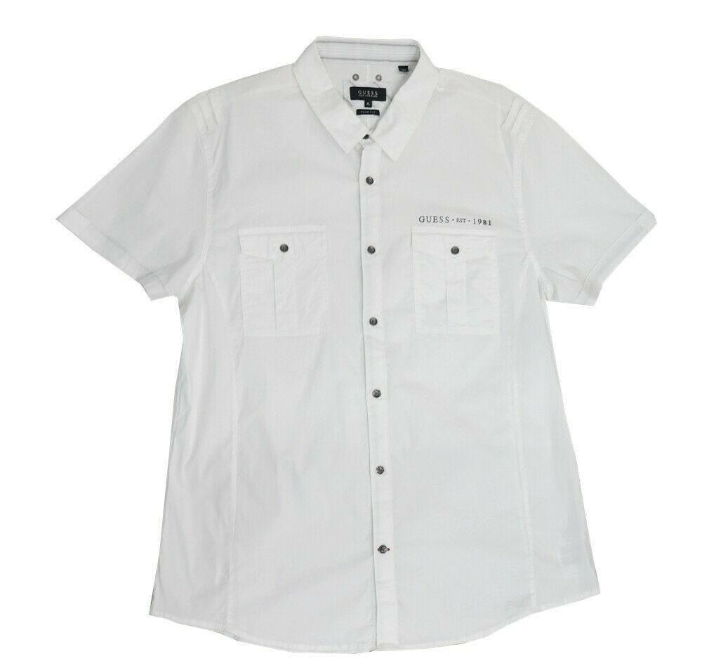 Guess White Short Sleeve Slim Fit Button-Down Shirt Big Boys
